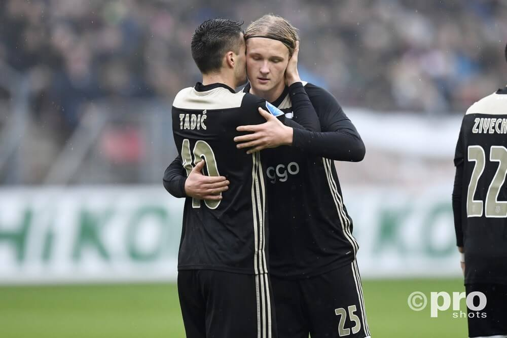 Dusan Tadic & Kasper opstelling Ajax - PAOK